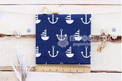 """Тканина польська """"Якоря і кораблі білі"""" на синьому"""