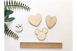 """Шаблон дерев'яний """"Серця, мишка"""" набір 3шт."""