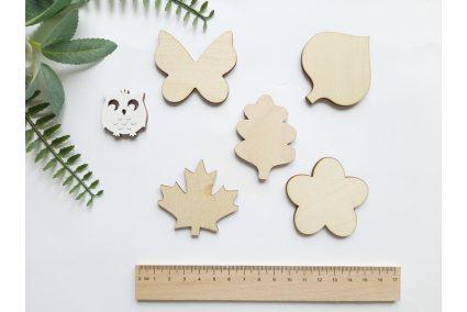 """Шаблон дерев'яний """"Квітка,листочки, метелик"""" набір 5шт."""