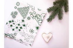 """Тканина польська """"Ялинки зелені з візерунків"""" на білому"""