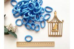 Резинка бесшовная для волос 3,5 см голубая