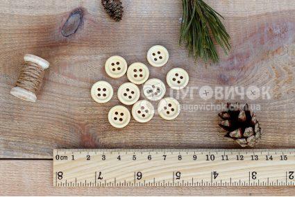 Пуговица круглая 15мм деревянная лакированная светлая