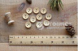 Пуговица круглая 15мм деревянная с пунктиром
