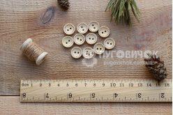 Гудзик круглий 13мм дерев`яний з пунктиром
