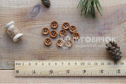 Пуговица круглая 11мм деревянная лакированная
