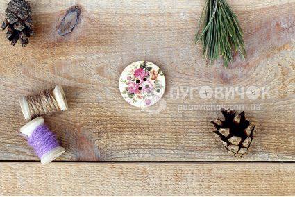 Пуговица круглая 30мм в цветочек