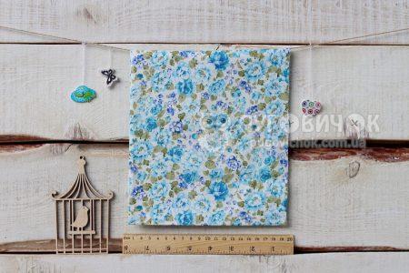 """Ткань """"Цветы пионы голубые и фиолетовые"""" на белом"""