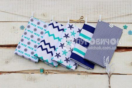 """Ткань польская """"Зигзаги мелкие бирюзово-синие"""" на белом"""