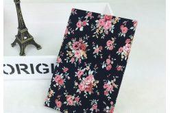 Тканина квіткове асорті 72*50см троянди рожеві на чорному