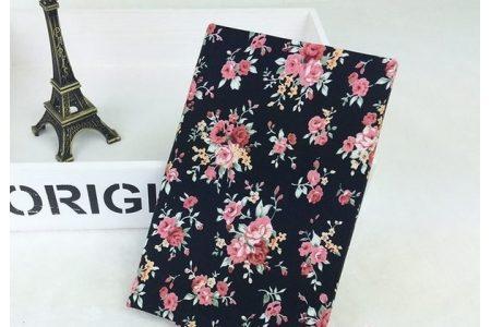 Ткань цветочное ассорти розы розовые на черном