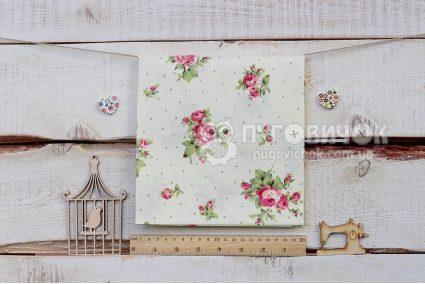 """Ткань """"Цветы розы и точки"""" на белом"""