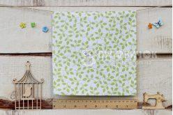 """Ткань """"Листья зеленые"""" на белом"""