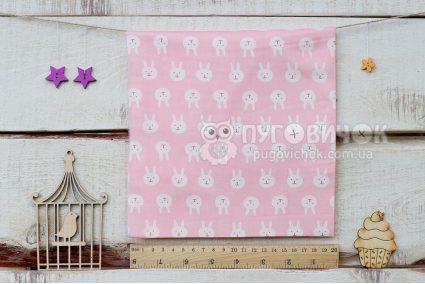 """Ткань """"Кролики белые"""" на розовом"""