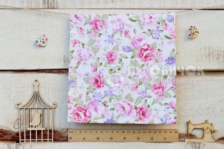 """Ткань """"Цветы пионы сиреневые и розовые на белом"""""""
