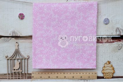 """Ткань """"Ретро розы белые"""" на розовом"""
