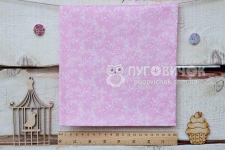 """Тканина """"Ретро троянди білі"""" на рожевому"""