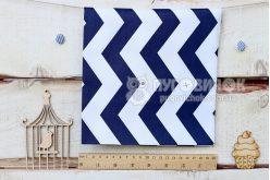 "Ткань ""Зигзаги синие"" на белом"