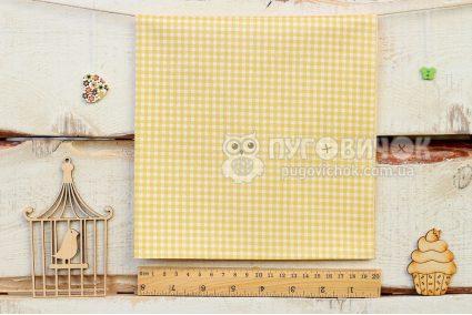 """Тканина """"Клітинка біла"""" на жовтому"""