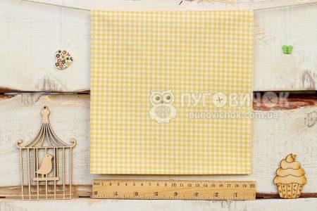 """Ткань """"Клетка белая"""" на жёлтом"""