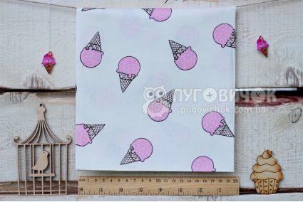"""Ткань """"Мороженое розовое"""" на белом"""
