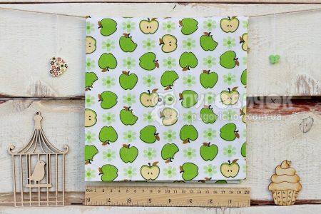 """Тканина """"Яблука зелені на білому"""""""