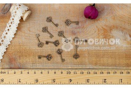 """Підвіска """"Ключ"""" 22*10мм металічна бронзова"""