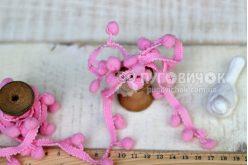 Тесьма с помпонами розовая 10мм