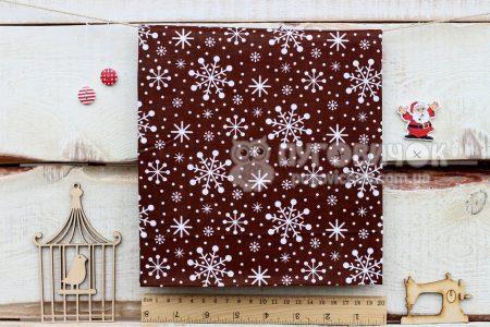 "Ткань ""Снежинки на коричневом"""