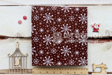 """Тканина """"Сніжинки на коричневому"""""""