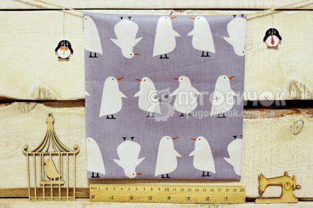 """Ткань """"Пингвины белые"""" на сером"""