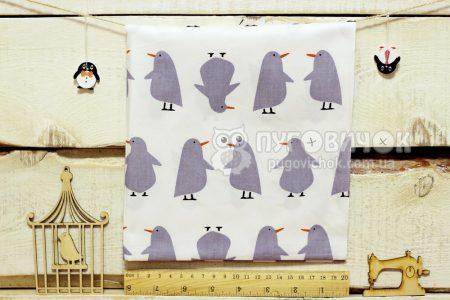 """Ткань """"Пингвины серые"""" на белом"""