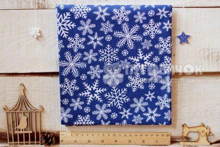 """Ткань польская """"Снежинки белые"""" на синем"""