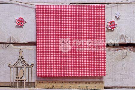 """Тканина польська """"Клітинка біла"""" на червоному"""