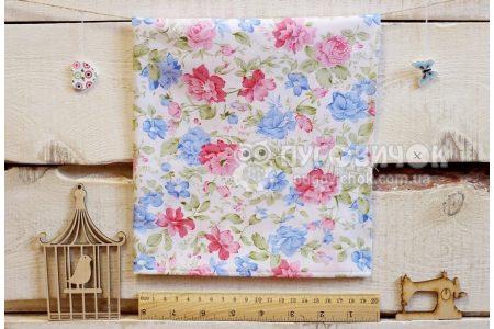 """Ткань """"Цветы пионы синие и розовые на белом"""""""