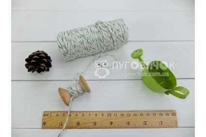 Шпагат хлопковый 1,6мм бело-зёленый