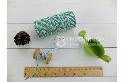 Шпагат котоновий 1,0мм біло-зелений