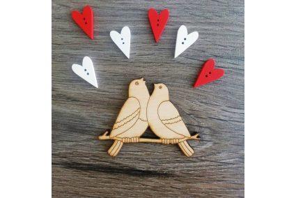 """Заготовка для декора """"Влюбленные голуби"""" 75*60мм"""