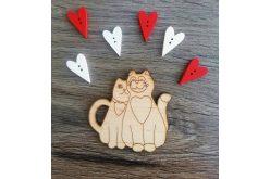 """Заготовка для декору """"Закохані коти"""" 65*65мм"""