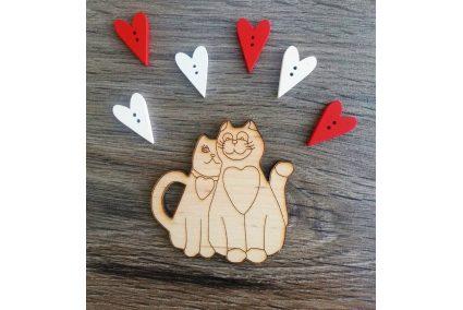 """Заготовка для декора """"Влюбленные коты"""" 65*65мм"""