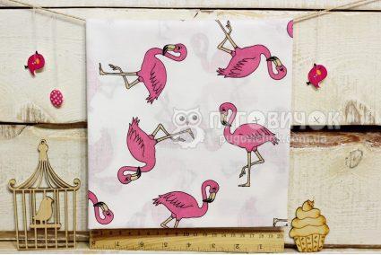 """Ткань польская """"Фламинго малиновые"""" на белом"""