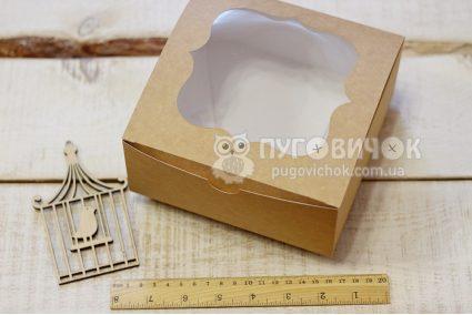 Коробка с крафт-картона с окошком 165*165*70мм