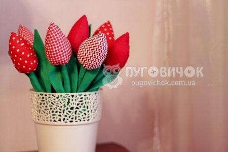 Тюльпаны текстильные красные в ассортименте