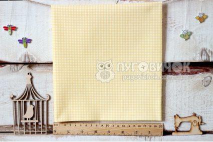 """Тканина польська """"Клітинка біла"""" на жовтому"""