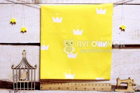 "Ткань ""Короны белые"" на жёлтом"
