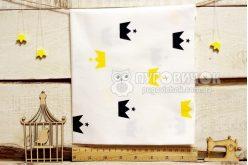 """Тканина """"Корони чорні і жовті"""" на білому"""