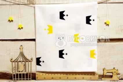 """Ткань """"Короны черные и жёлтые"""" на белом"""