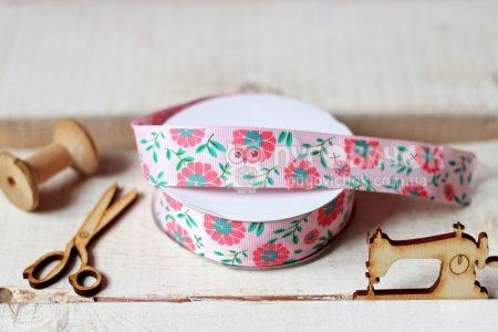 """Стрічка репсова 2,5см """"Квіти і листки"""" на рожевому"""