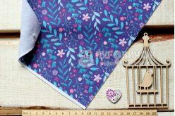 Фетр мягкий с рисунком Цветы и листья на фиолетовом