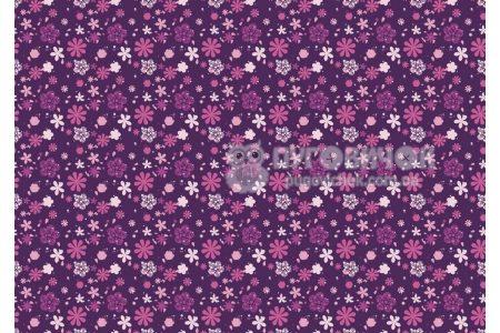 """Фетр мягкий с узором """"Цветы фиолетово-розовые на фиолетовом"""""""