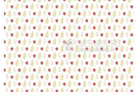 """Фетр мягкий с узором """"Цветы красные и листья на белом"""""""